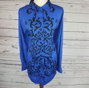 Tops - Royal Blue and Black Blouse